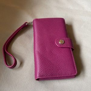 Coach Raspberry Leather Phone and Card Case